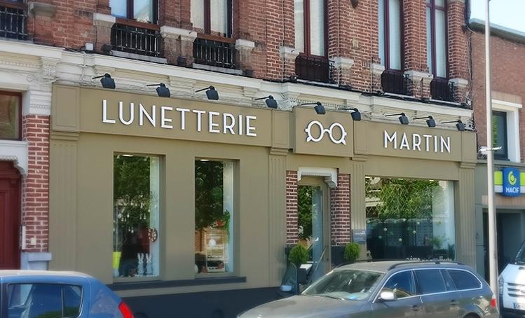 Enseigne Lunetterie Martin réalisé par noctaupüs! graphiste freelance Lille